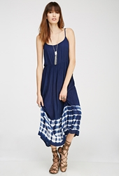Forever 21 Tie Dye Lace Up Maxi Dress Navy White