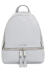 Michael Michael Kors 'Small Rhea Zip' Leather Backpack White Dove Silver