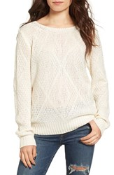 Woven Heart Women's Lace Up Knit Pullover Ivory