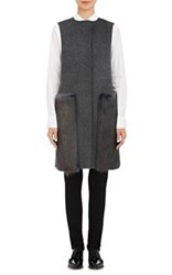 Barneys New York Women's Wool Cashmere Long Vest Dark Grey