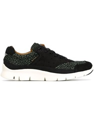 Paul Smith Jeans Panelled Leopard Print Sneakers Black