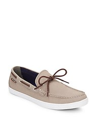 Cole Haan Lincoln Canvas Boat Shoes Taupe