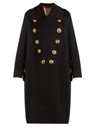 Burberry Double Breasted Wool And Cashmere Blend Coat Black