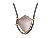 Alexis Bittar Leather Pendant W Fancy Black Moonstone And Crystal Glass Doublet