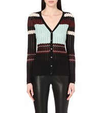 French Connection Chevron Knitted Cardigan Black Multi