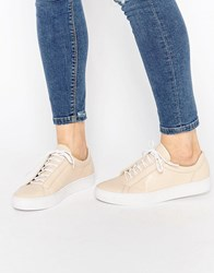 Vagabond Zoe Leather Nude Lace Up Trainers Nude Beige