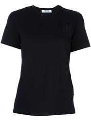 Msgm Logo Embroidered T Shirt Black