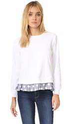 Clu Too Polka Dot Ruffled Sweatshirt White