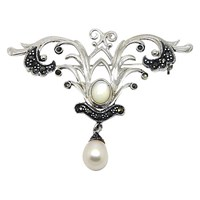 Goldmajor Sterling Silver Marcasite And Pearl Brooch Silver