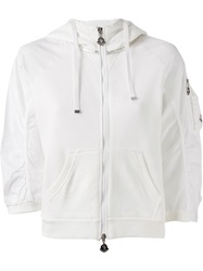 Moncler Cropped Hooded Sweatshirt White
