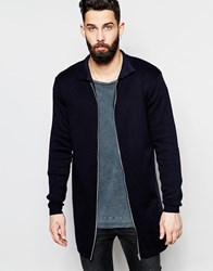 Asos Longline Knitted Jacket Navy