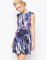 Closet Printed V Back Dress In Scuba Multi Purple