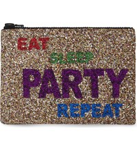 I Know The Queen Eat Sleep Party Repeat Glitter Clutch Multi