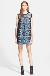 Sea Embroidered Sleeveless Cotton Dress Navy Blue Cream