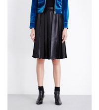 Moandco. Pleated Faux Leather Chiffon Skirt Black