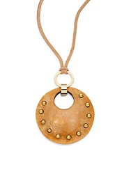 Rj Graziano Studded Suede Pendant Necklace Brown