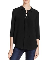 Aqua Bridgette Lace Up Shirt Black