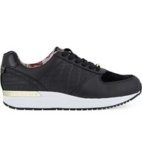 Ted Baker Crocodile Embossed Leather Trainers Jet