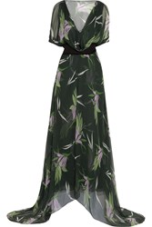 Marni Printed Silk Chiffon Maxi Dress Green