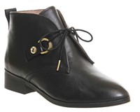 Office Larkin Lace Up Flat Boots Black Leather