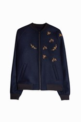Paul Joe Men S Pabeille Bee Embroidered Bomber Jacket Boutique1 Blue