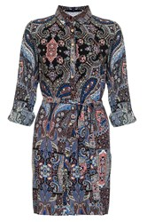 Quiz Blue Paisley Print Shirt Dress