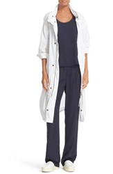 Vince Women's Stand Collar Long Cotton Anorak White