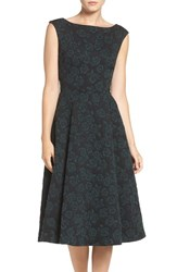 Betsey Johnson Women's Floral Jacquard Fit And Flare Midi Dress Black Hunter