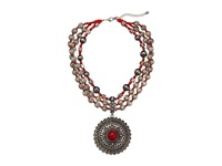 Mandf Western Metal Beaded Round Concho Necklace Earring Set Silver Red Jewelry Sets
