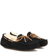 Ugg Dakota Shearling Lined Suede Moccasins Black
