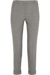 Carven Cropped Houndstooth Wool Blend Tapered Pants Black