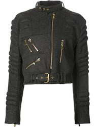 Alexandre Vauthier Ribbed Biker Jacket Grey