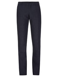 Giorgio Armani Slim Fit Wool And Linen Blend Trousers Navy