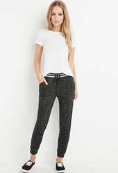 Forever 21 Striped Waist Marled Sweatpants Black Cream