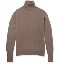 Thom Sweeney Wool Rollneck Sweater Brown