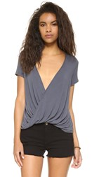 Free People Hoffman Draped Tee Black