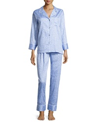 Natori Leopard Print Two Piece Pajama Set Blue