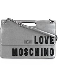 Love Moschino Logo Flap Shoulder Bag Grey