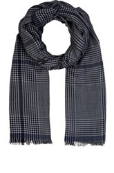 Colombo Men's Plaid Twill Scarf Navy