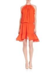 Alexis Monic Solid Flounce Silk Dress Red Orange