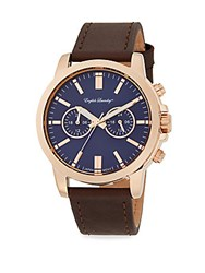 English Laundry Rose Goldtone Stainless Steel And Brown Leather Strap Chronograph Watch Brown Navy