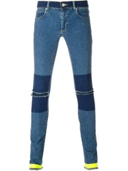 House Of Holland Skinny Panelled Jeans Blue