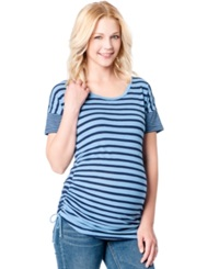 Jessica Simpson Maternity Striped Ruched Tee