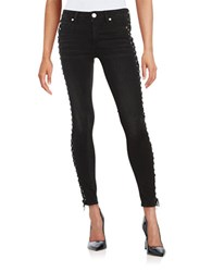 True Religion Halle Crop Lace Up Paneled Jeans Pepper
