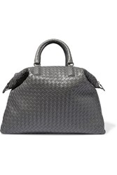 Bottega Veneta Convertible Medium Intrecciato Leather Tote Gray