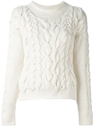 Malo Cable Knit Pullover White