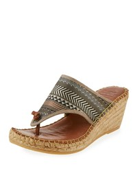 Andre Assous Alyssa Striped Wedge Sandal Brown Multi