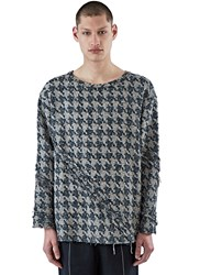 Aganovich Oversized Houndstooth Tweed Sweater Black