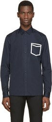 Oamc Navy And White Taped Shirt
