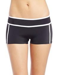 Michael Michael Kors Colorblocked Scuba Boy Short Bikini Bottom Black